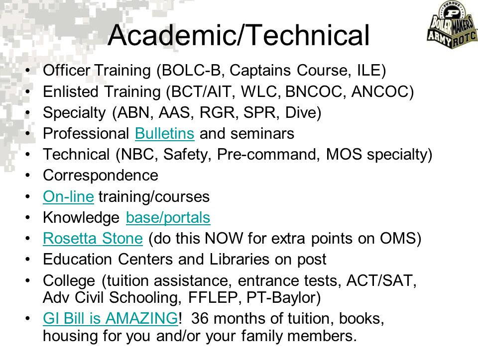 Academic/Technical Officer Training (BOLC-B, Captains Course, ILE)