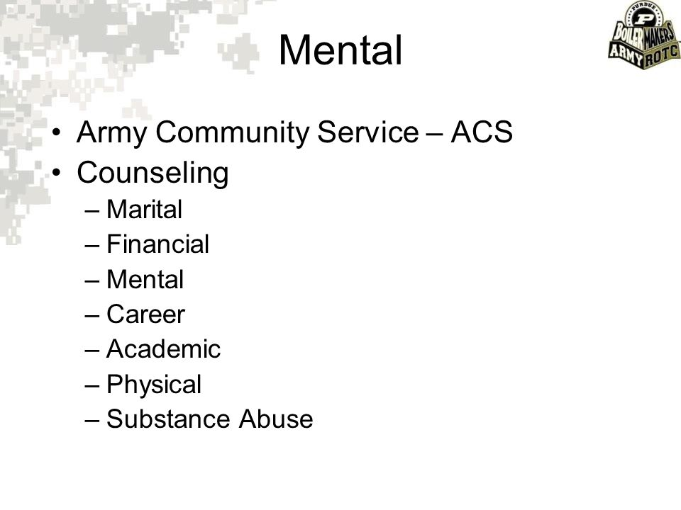 Mental Army Community Service – ACS Counseling Marital Financial