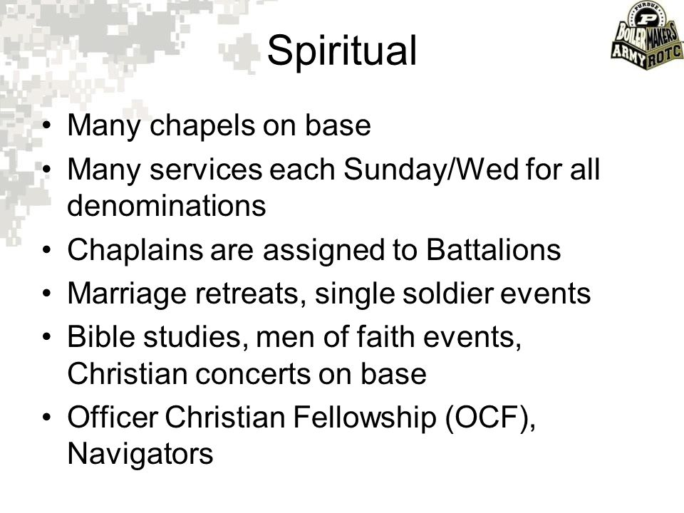 Spiritual Many chapels on base