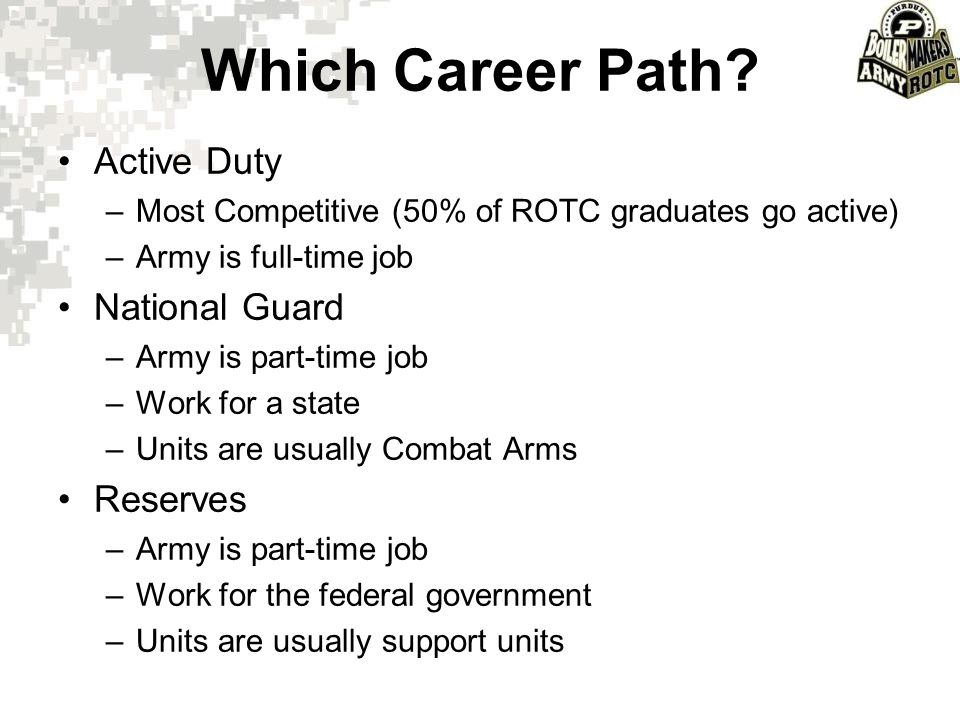 Which Career Path Active Duty National Guard Reserves