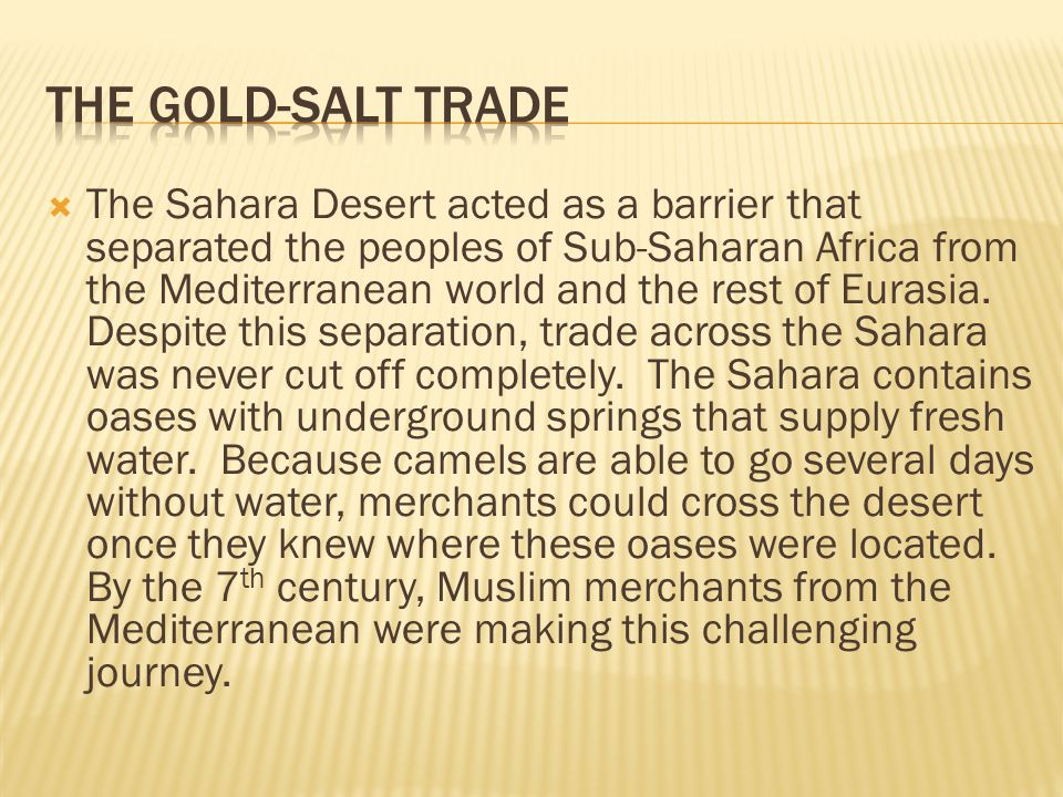 The Gold-Salt Trade