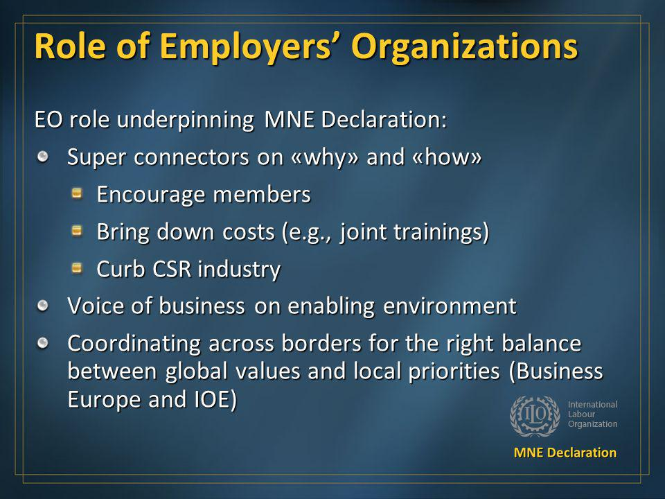 Role of Employers' Organizations