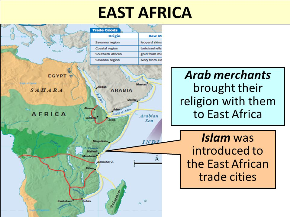 EAST AFRICA Arab merchants brought their religion with them to East Africa.