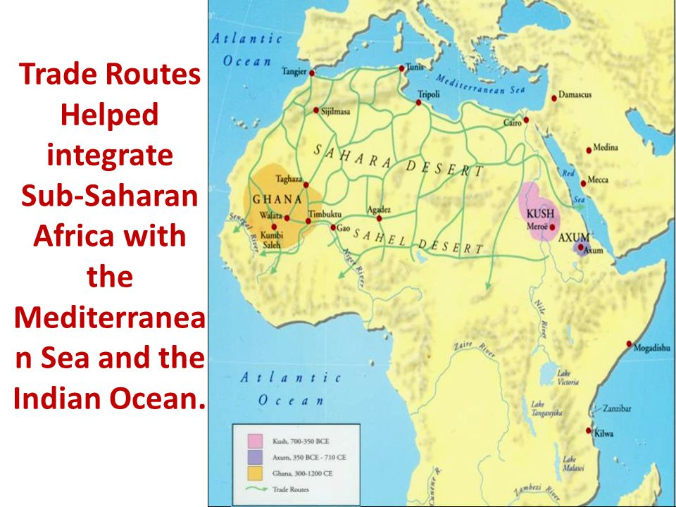 Trade Routes Helped integrate Sub-Saharan Africa with the Mediterranean Sea and the Indian Ocean.