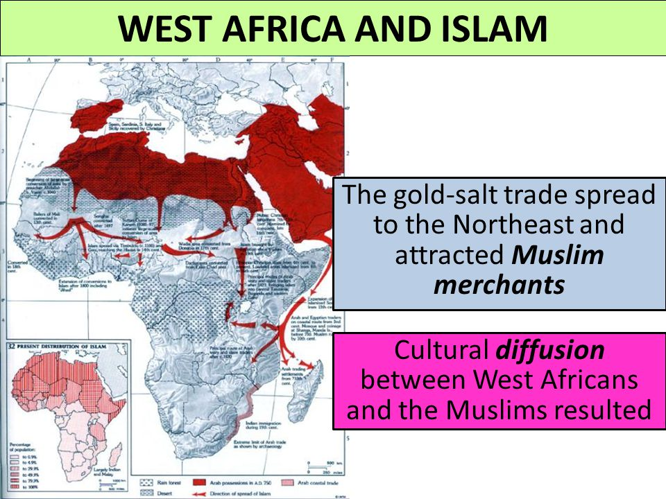 Cultural diffusion between West Africans and the Muslims resulted