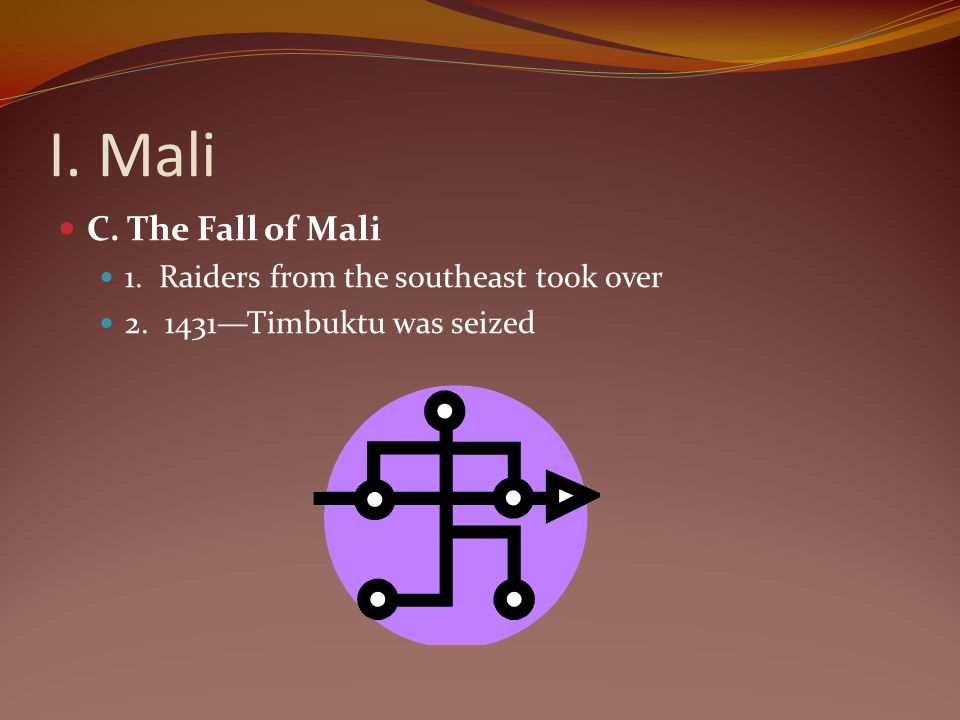 I. Mali C. The Fall of Mali 1. Raiders from the southeast took over