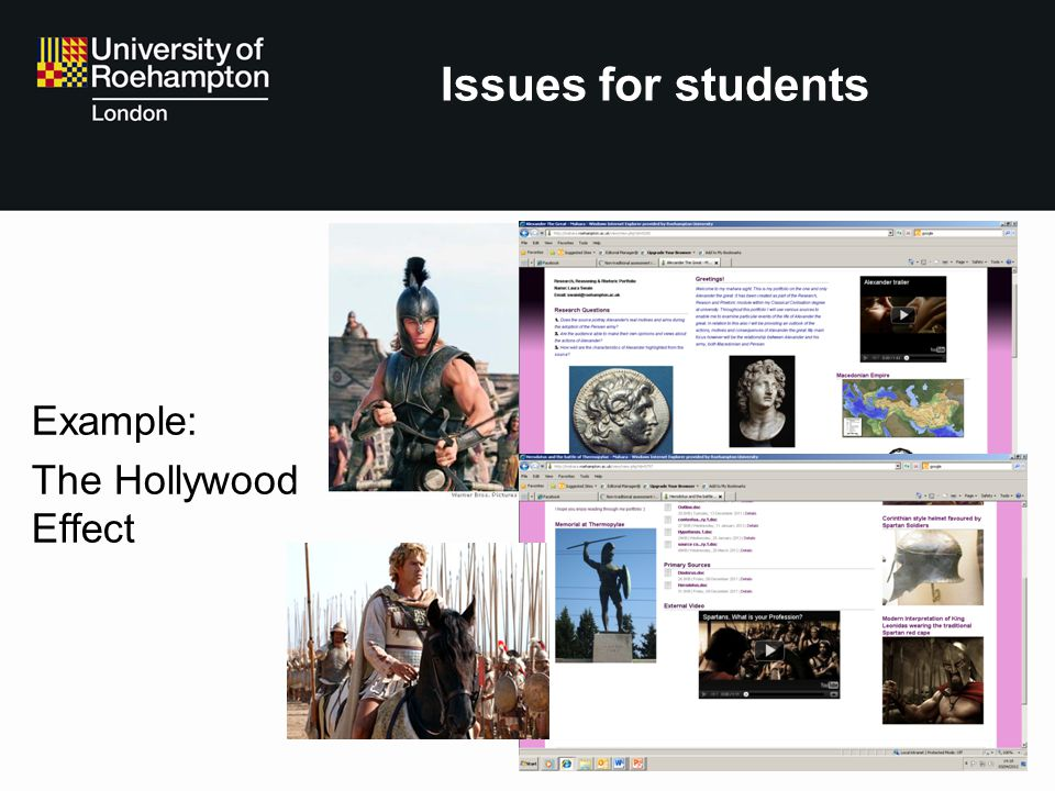 Issues for students Example: The Hollywood Effect