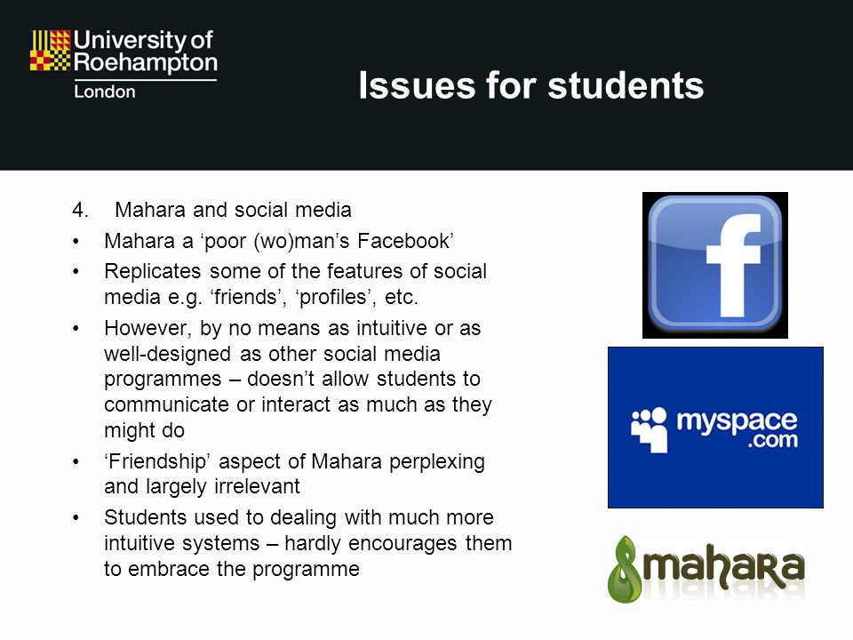 Issues for students Mahara and social media