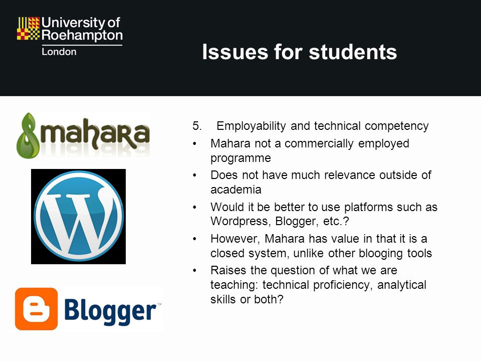 Issues for students Employability and technical competency