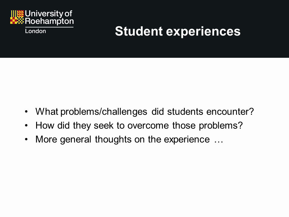 Student experiences What problems/challenges did students encounter