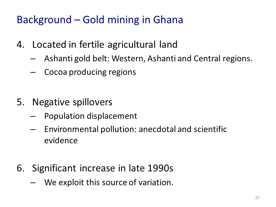Background – Gold mining in Ghana