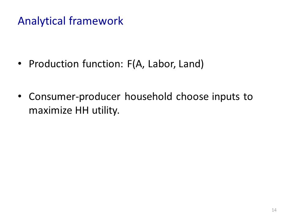 Analytical framework Production function: F(A, Labor, Land)
