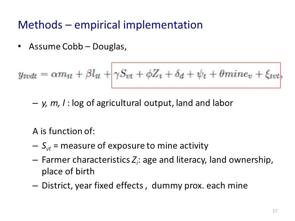 Methods – empirical implementation
