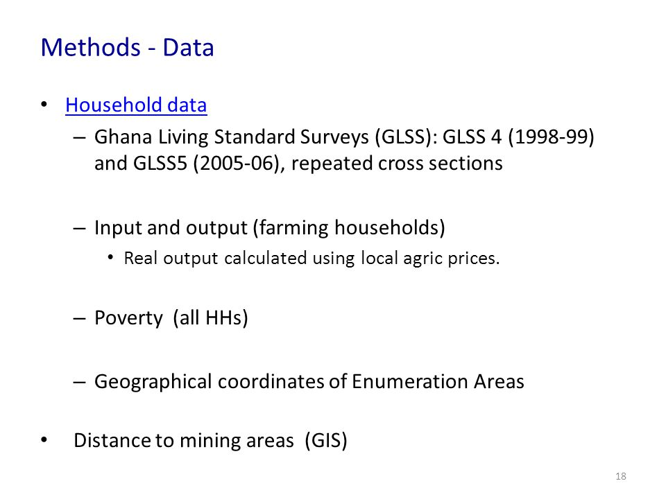 Methods - Data Household data