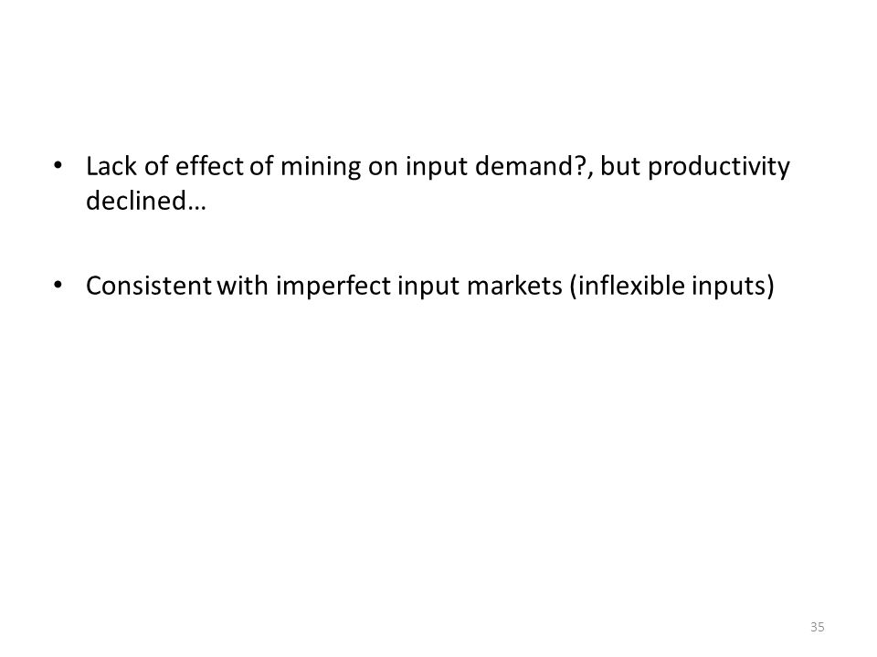 Lack of effect of mining on input demand , but productivity declined…