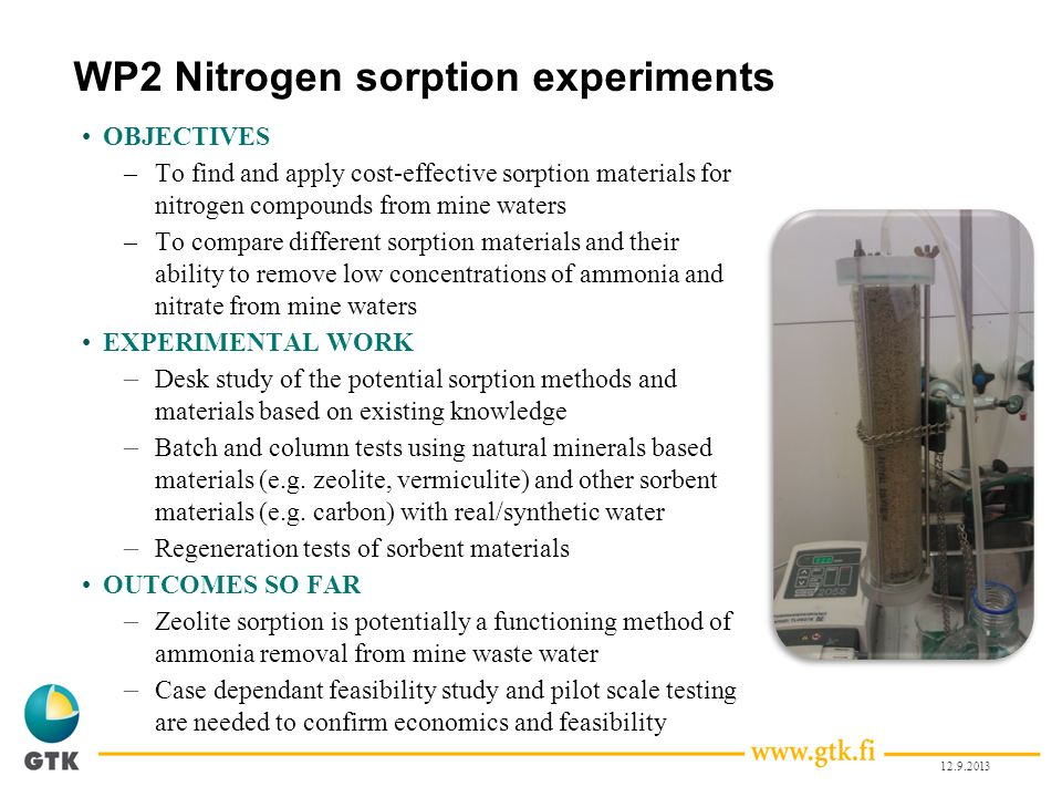 WP2 Nitrogen sorption experiments