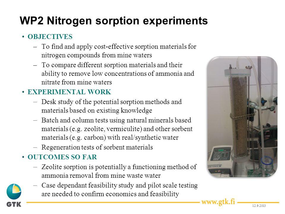 WP2 Nitrogen sorption experiments