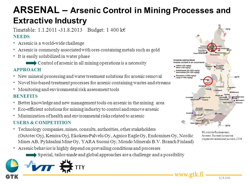 ARSENAL – Arsenic Control in Mining Processes and Extractive Industry