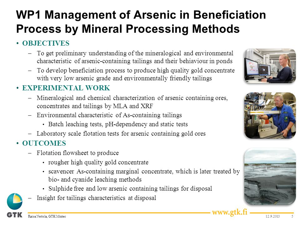 WP1 Management of Arsenic in Beneficiation Process by Mineral Processing Methods