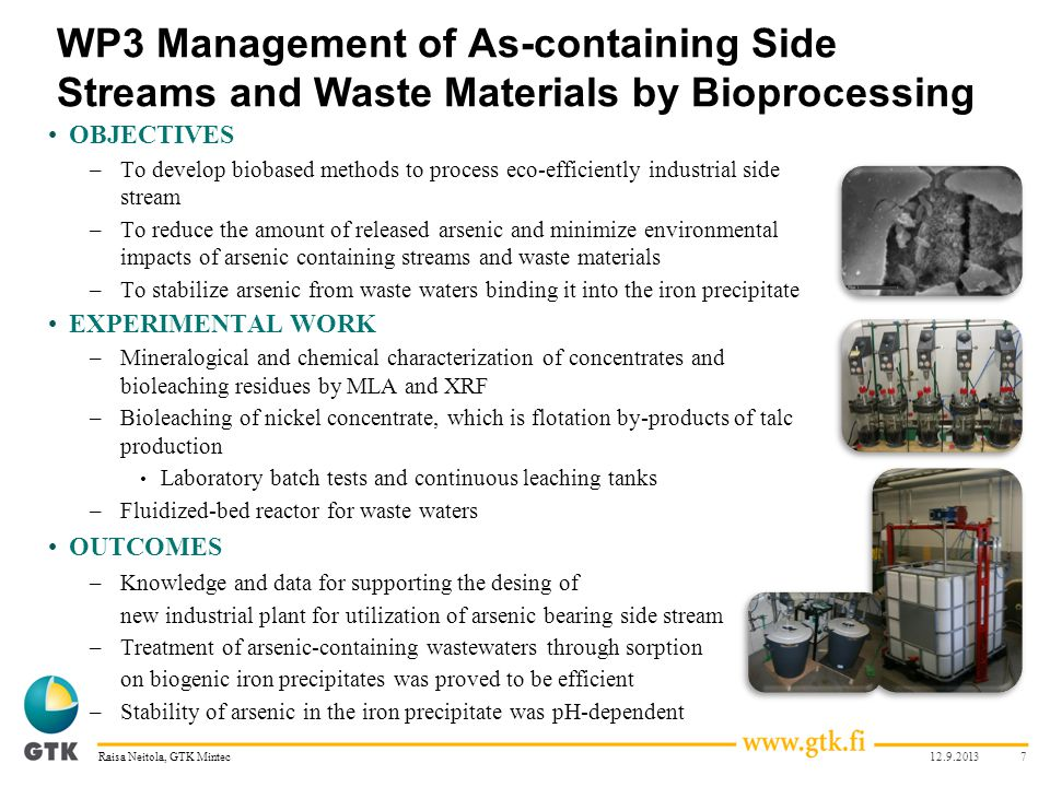 WP3 Management of As-containing Side Streams and Waste Materials by Bioprocessing