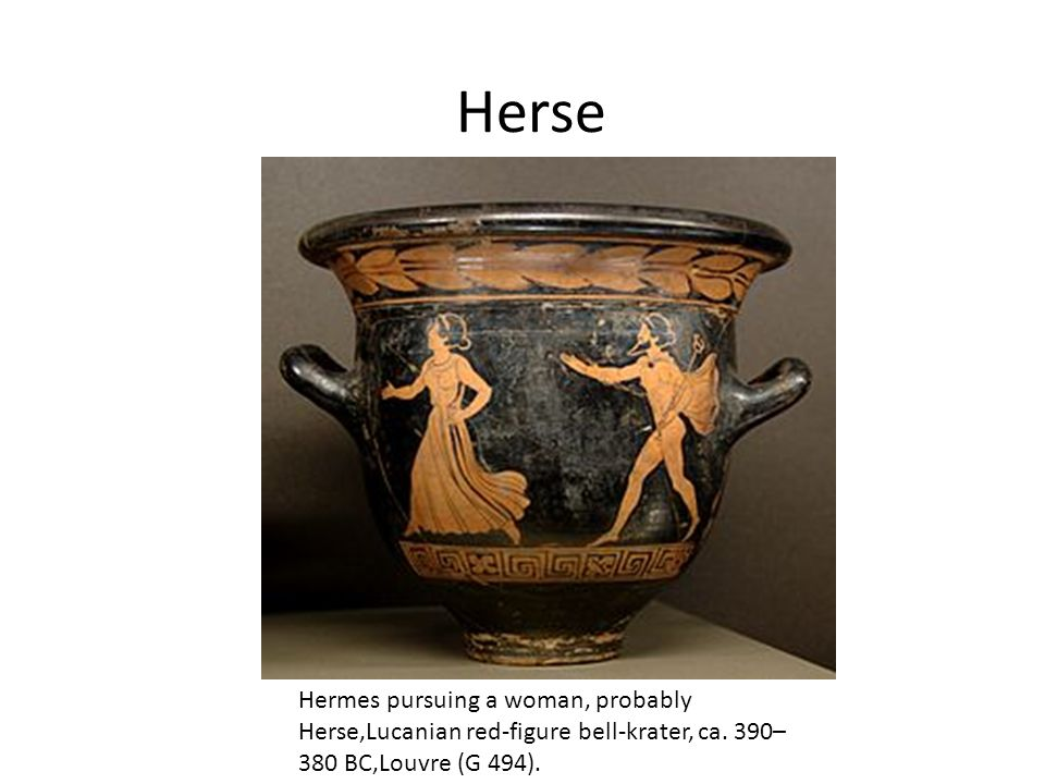 Herse Hermes pursuing a woman, probably Herse,Lucanian red-figure bell-krater, ca.