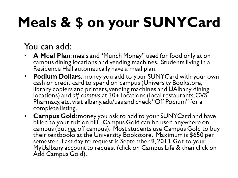 Meals & $ on your SUNYCard