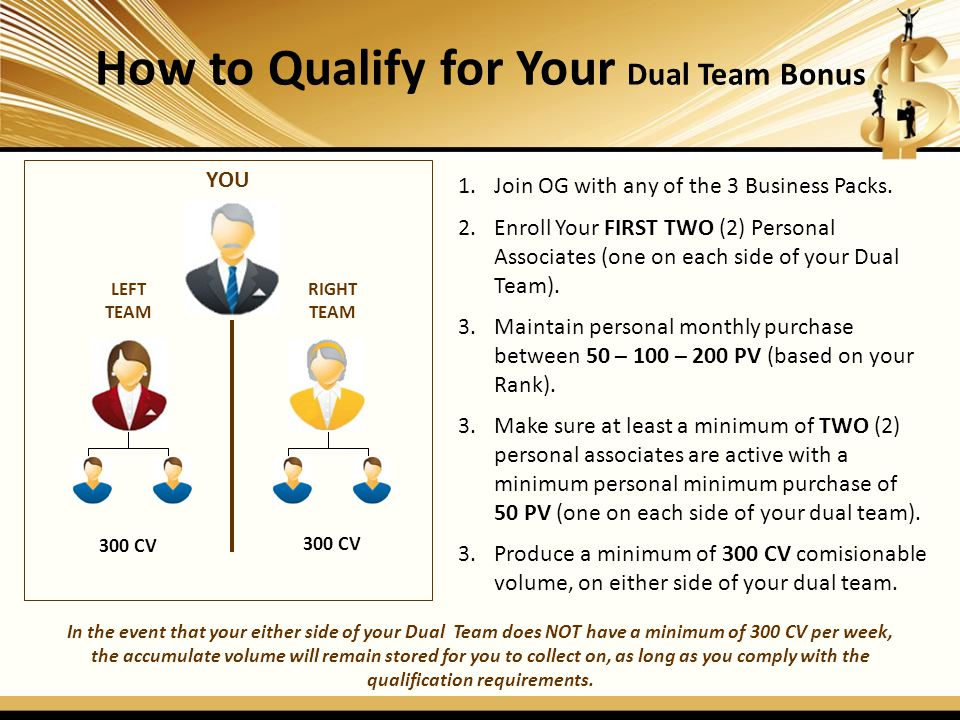 How to Qualify for Your Dual Team Bonus qualification requirements.