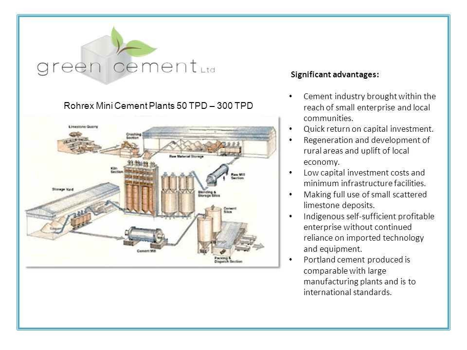 Rohrex Mini Cement Plants 50 TPD – 300 TPD