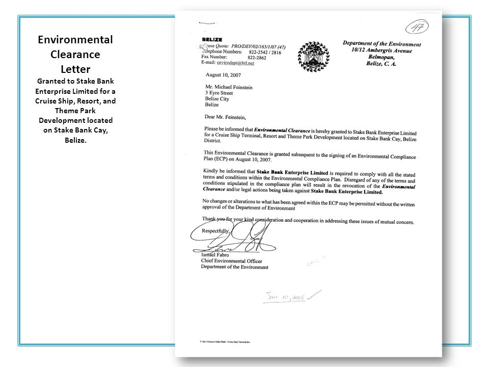 Environmental Clearance Letter