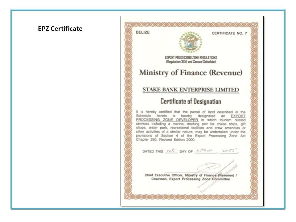 EPZ Certificate