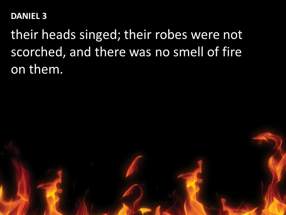 DANIEL 3 their heads singed; their robes were not scorched, and there was no smell of fire on them.