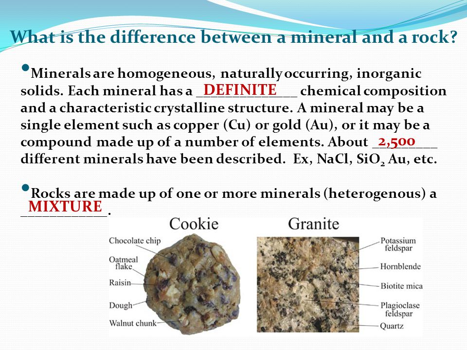 What is the difference between a mineral and a rock