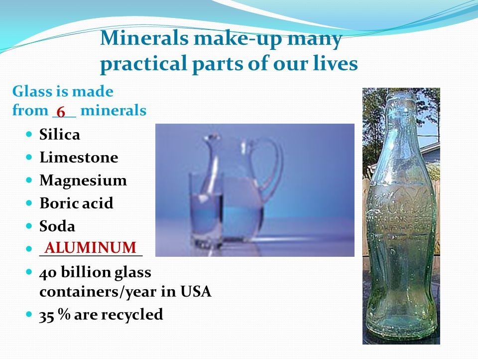 Glass is made from ___ minerals