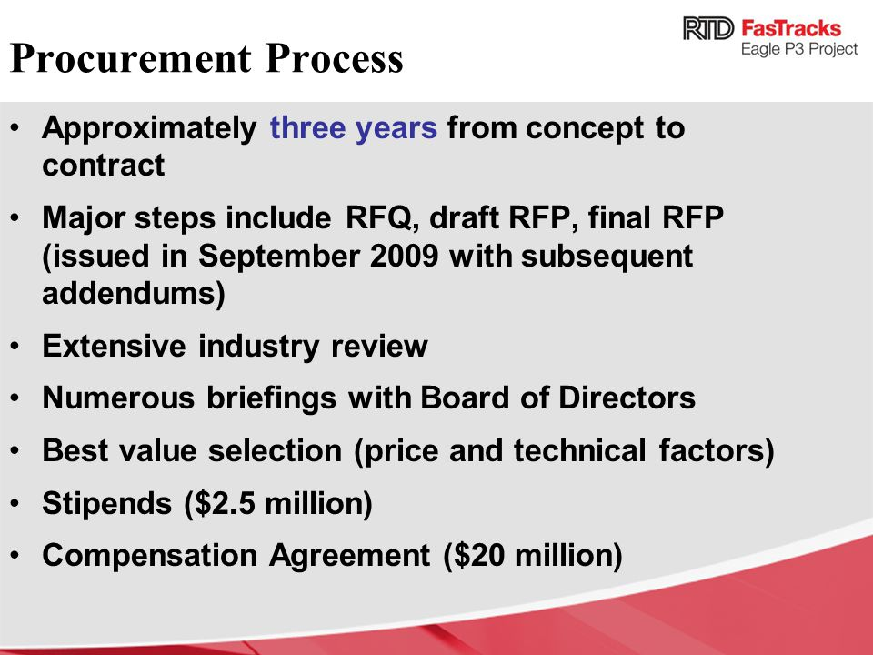 Procurement Process Approximately three years from concept to contract