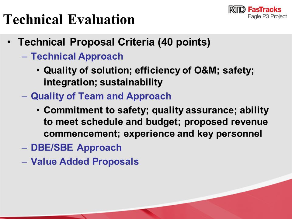 Technical Evaluation Technical Proposal Criteria (40 points)