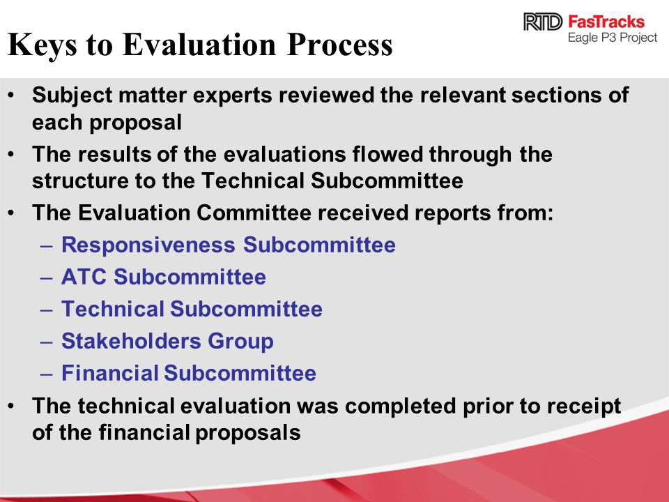 Keys to Evaluation Process
