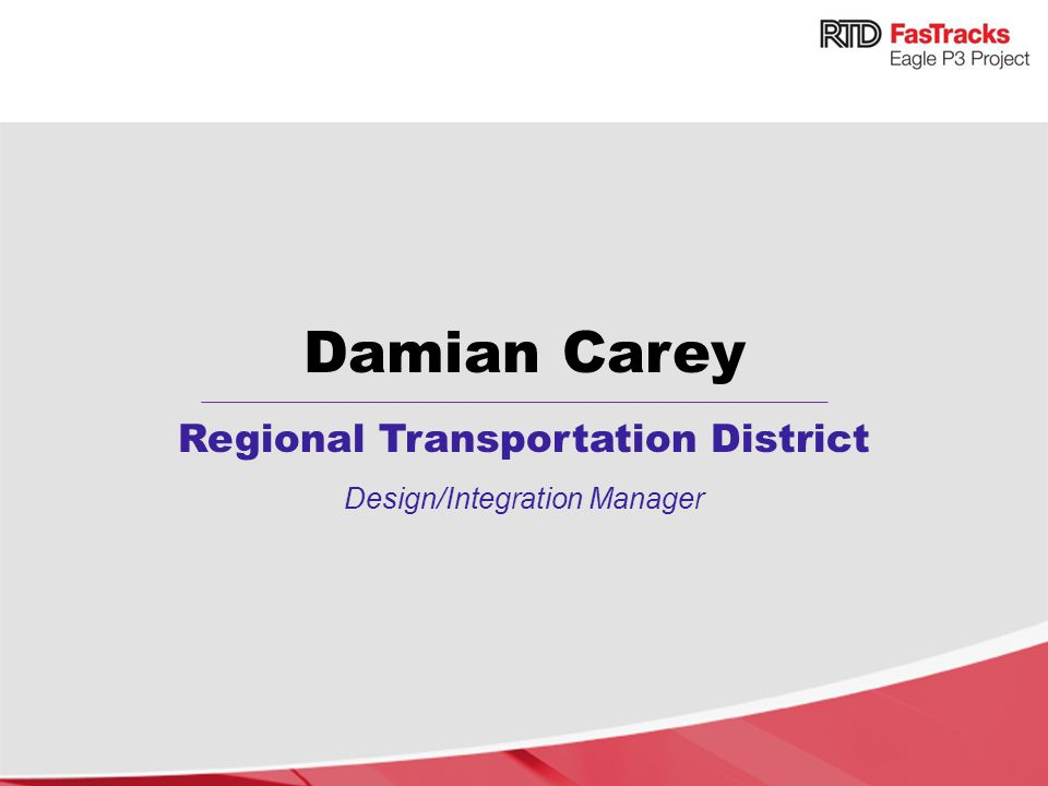 Damian Carey Regional Transportation District Design/Integration Manager
