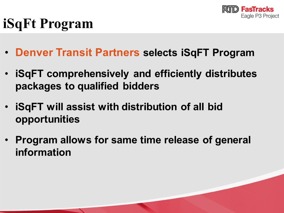 iSqFt Program Denver Transit Partners selects iSqFT Program