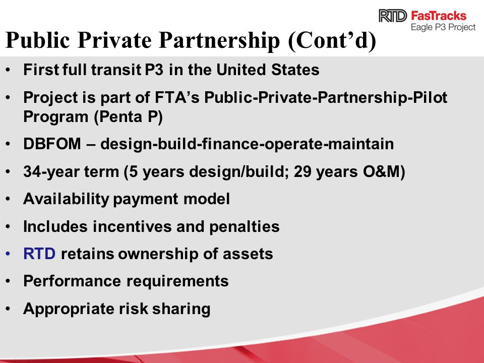 Public Private Partnership (Cont'd)