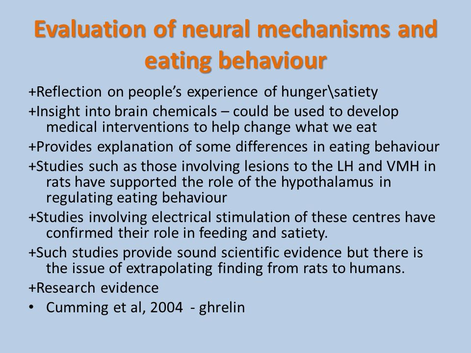 Evaluation of neural mechanisms and eating behaviour