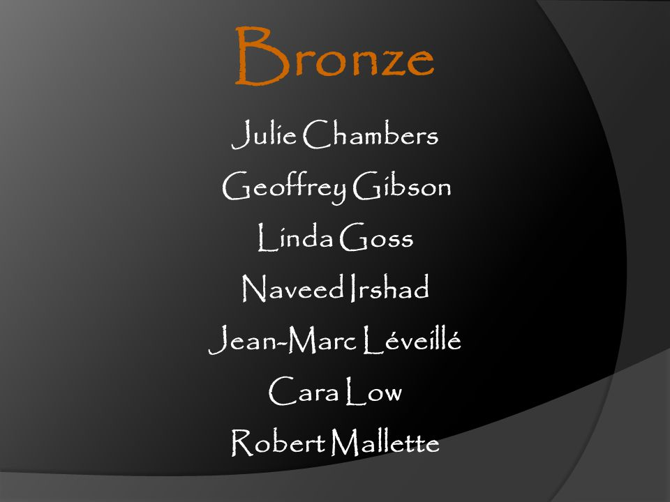 Bronze Julie Chambers Geoffrey Gibson Linda Goss Naveed Irshad
