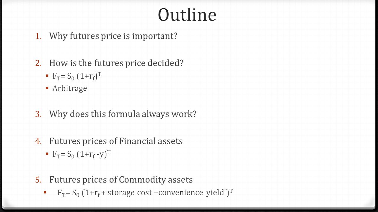 Outline Why futures price is important