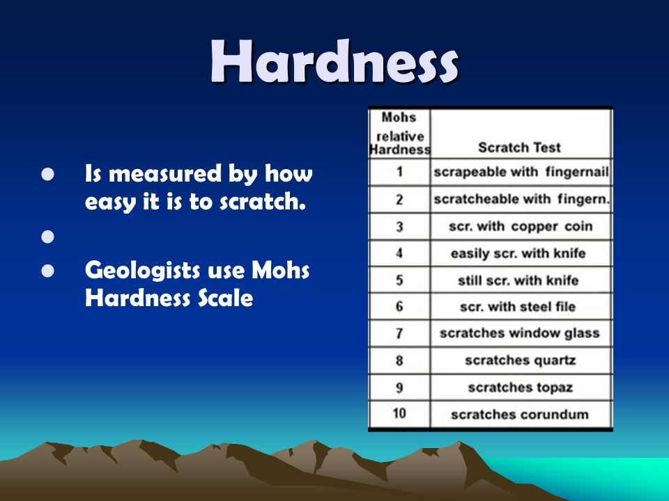 Hardness Is measured by how easy it is to scratch.