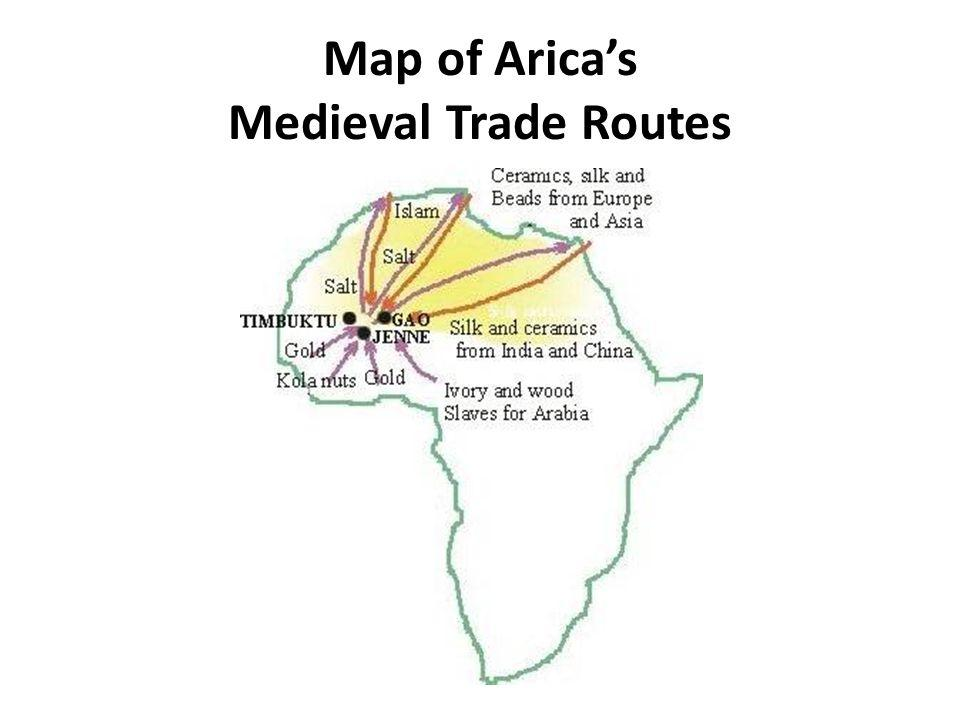 Map of Arica's Medieval Trade Routes