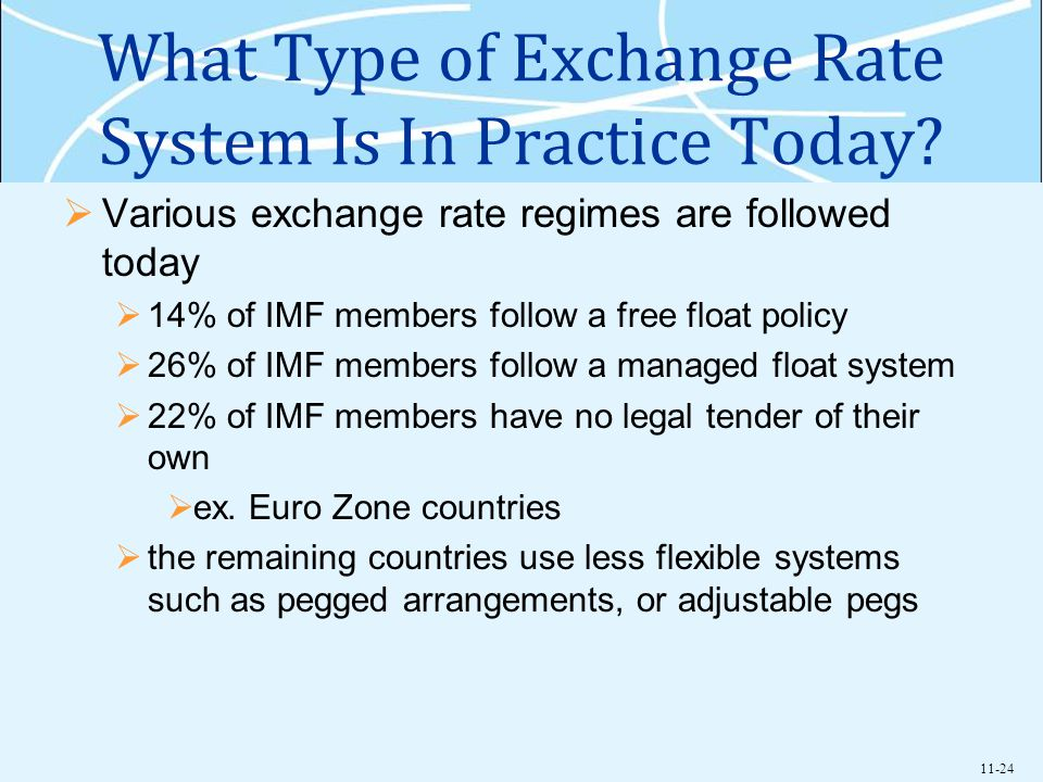 What Type of Exchange Rate System Is In Practice Today