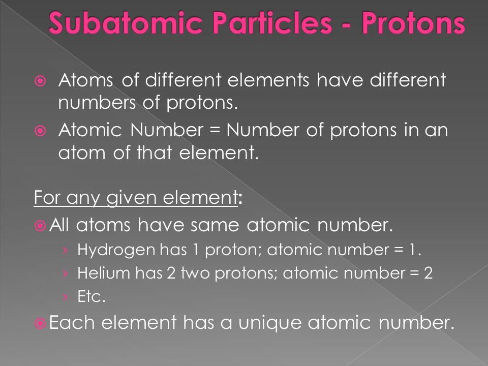 Subatomic Particles - Protons
