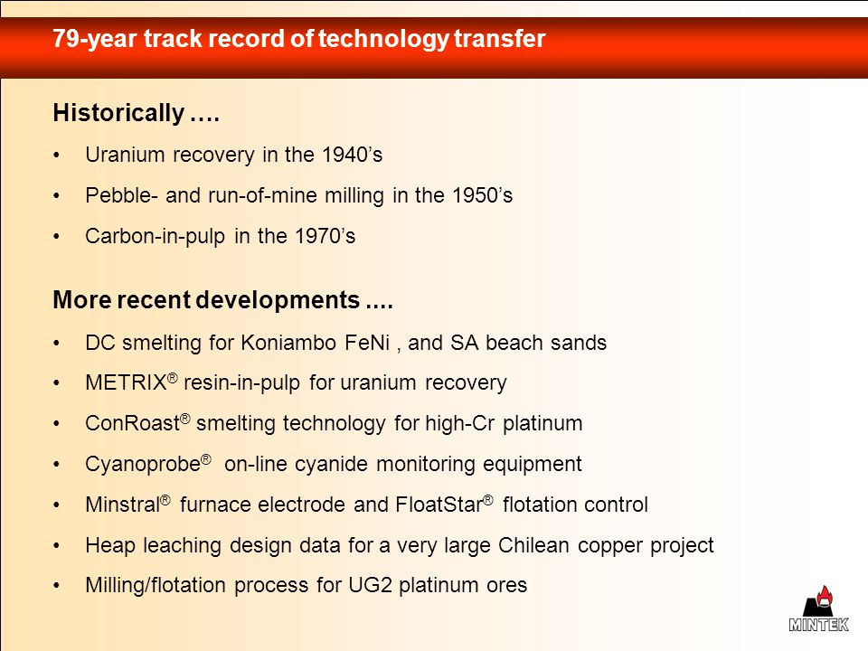 79-year track record of technology transfer