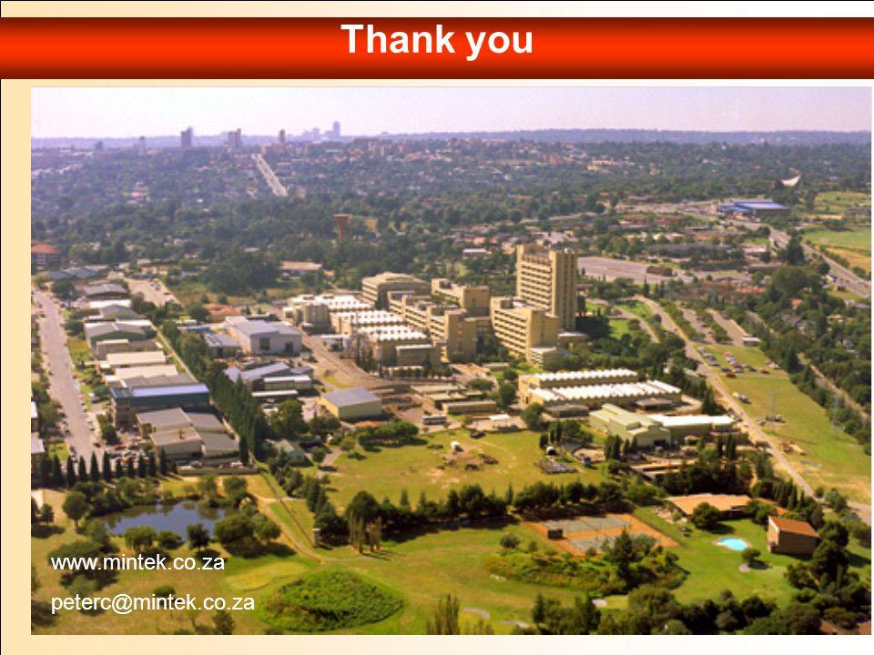 Thank you www.mintek.co.za peterc@mintek.co.za