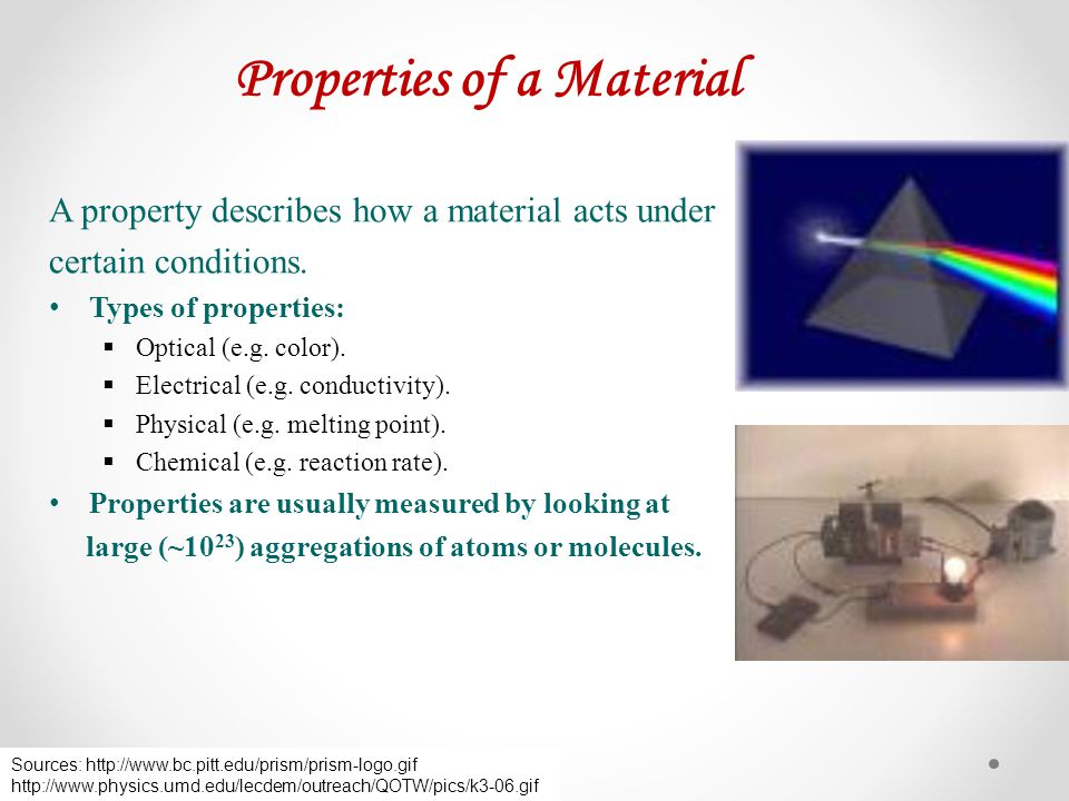 Properties of a Material