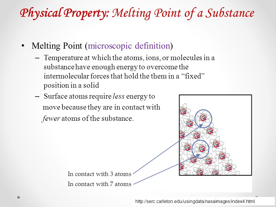 Physical Property: Melting Point of a Substance